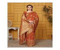 Pretty Rust Orange Silk Saree