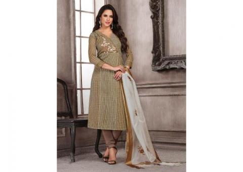 Olive Green Cotton Silk Punjabi Salwar Suit