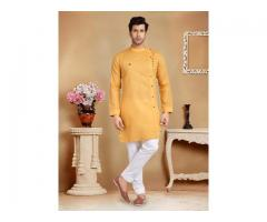 Bandhgala Pattern Yellow Mens Kurta Suit