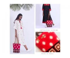 Buy now online clothing,vegan leather bags from sustainable fashion brand kalamargam