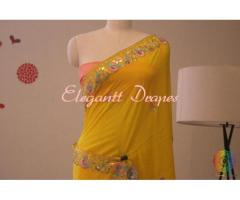 Digital printed organza sarees