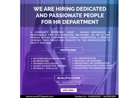 We are hiring dedicated and passionate people for HR Department
