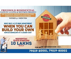 Freehold residential plots with immediate Possession near Chandigarh, Starting from 10 lakhs.
