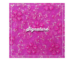 Buy Fuchsia Pink Net Fabric With Floral Thread Work